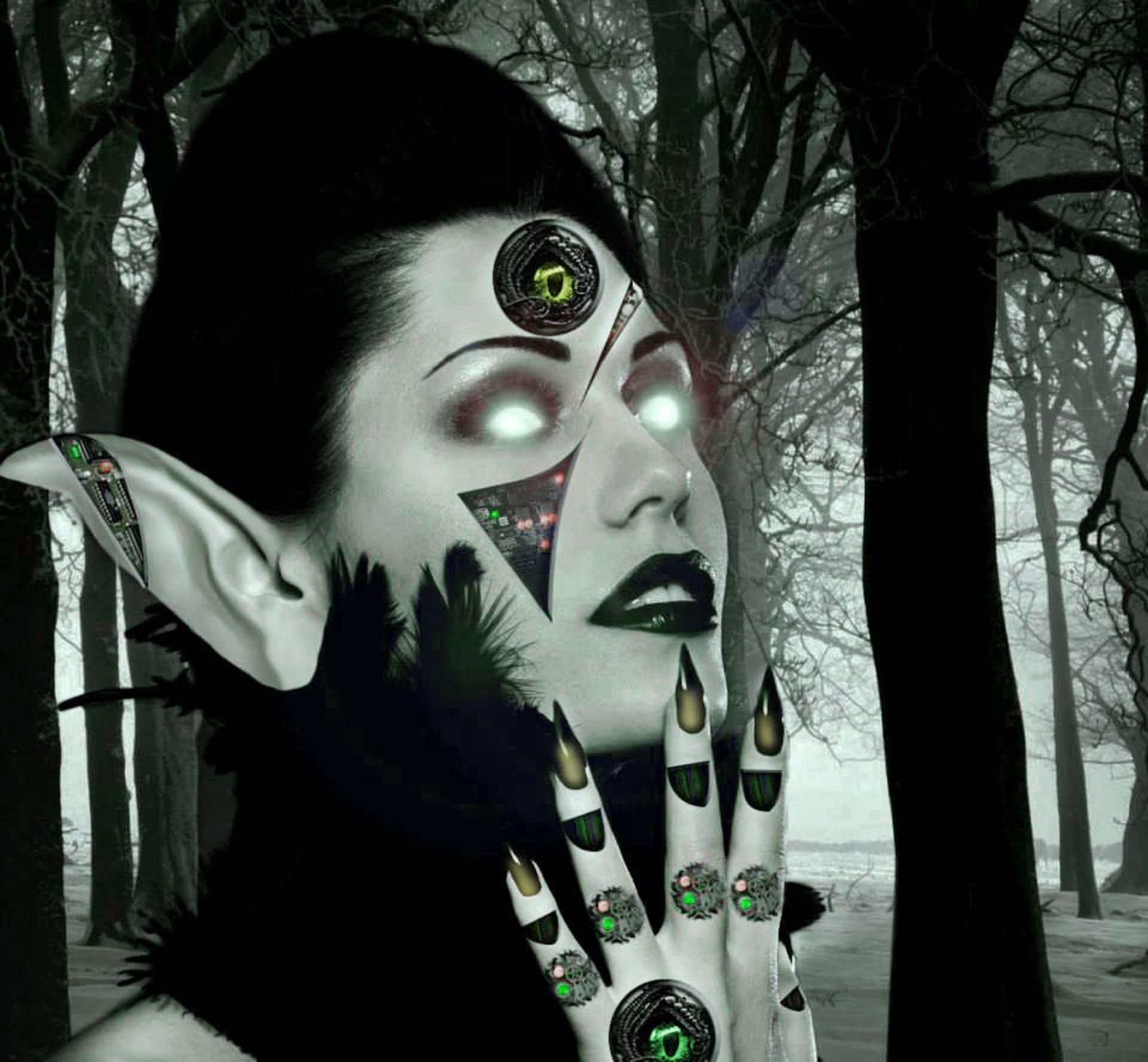 Gambar Wanita Kegelapan Mata Seni Makhluk Gambar Vampir
