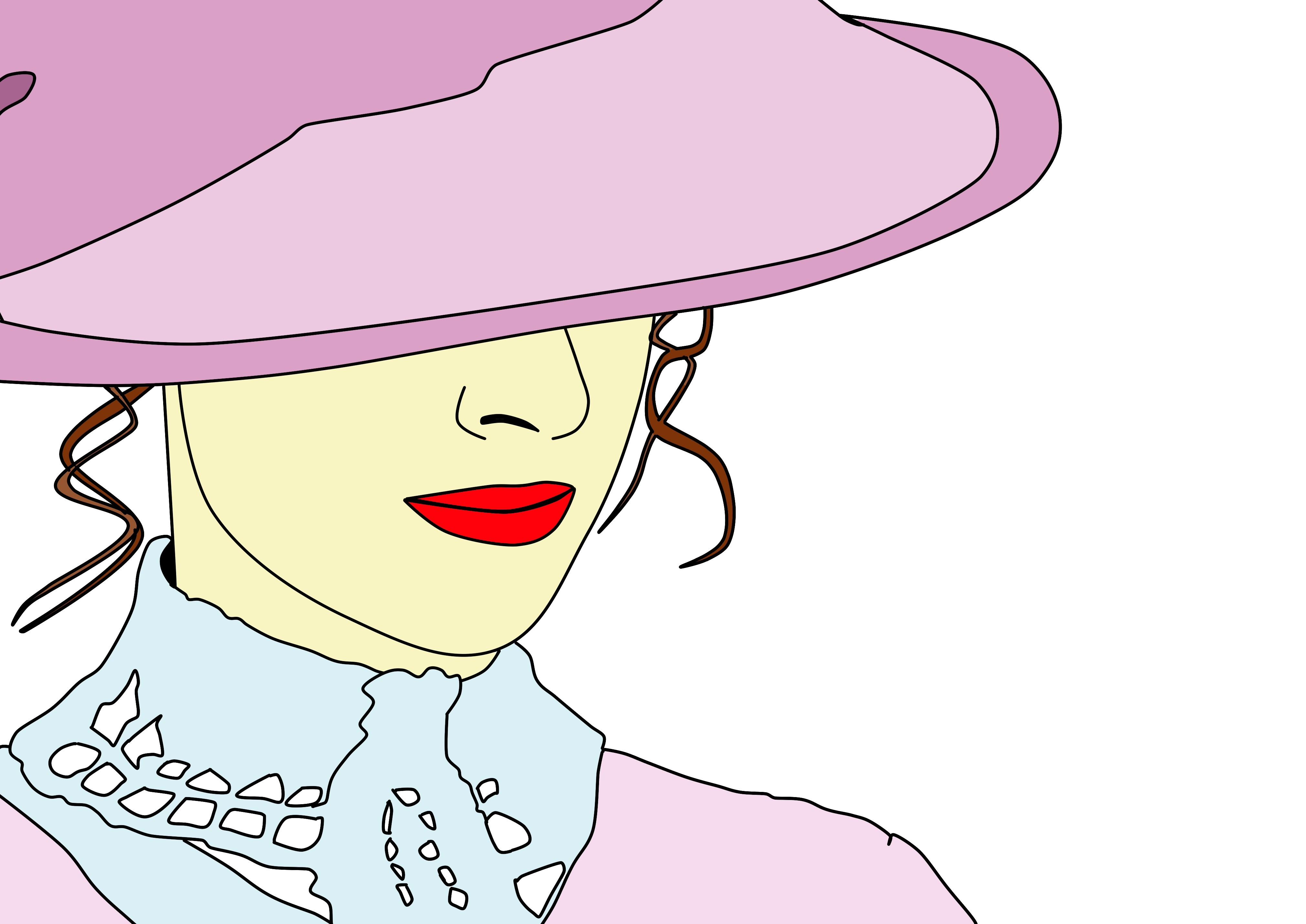 Gambar Wanita Topi Menghadapi Hidung Ilustrasi Victoria