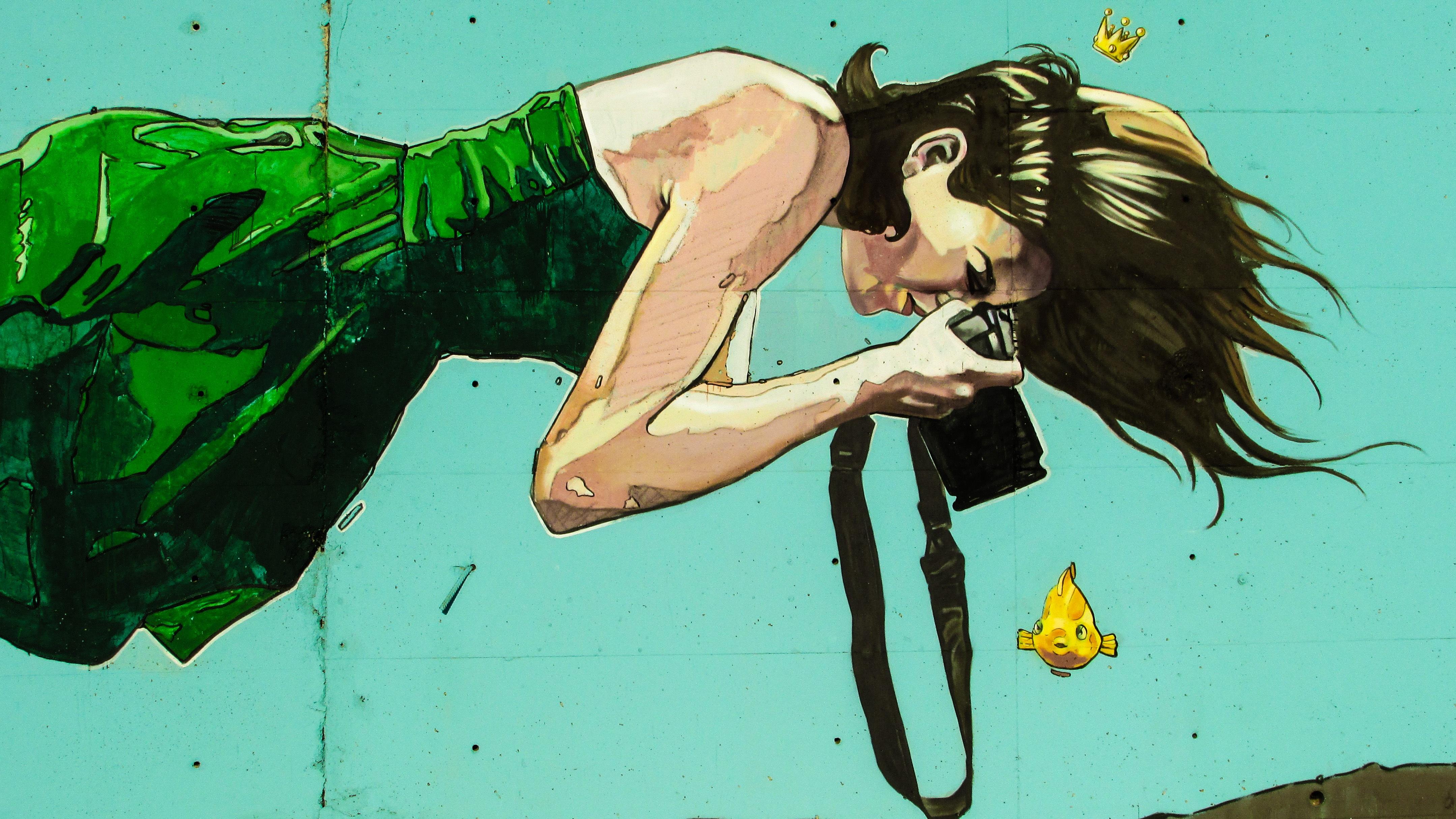 Woman Photographer Floating Colorful Graffiti Illustration Redhead Anime Cyprus Cartoon Paralimni