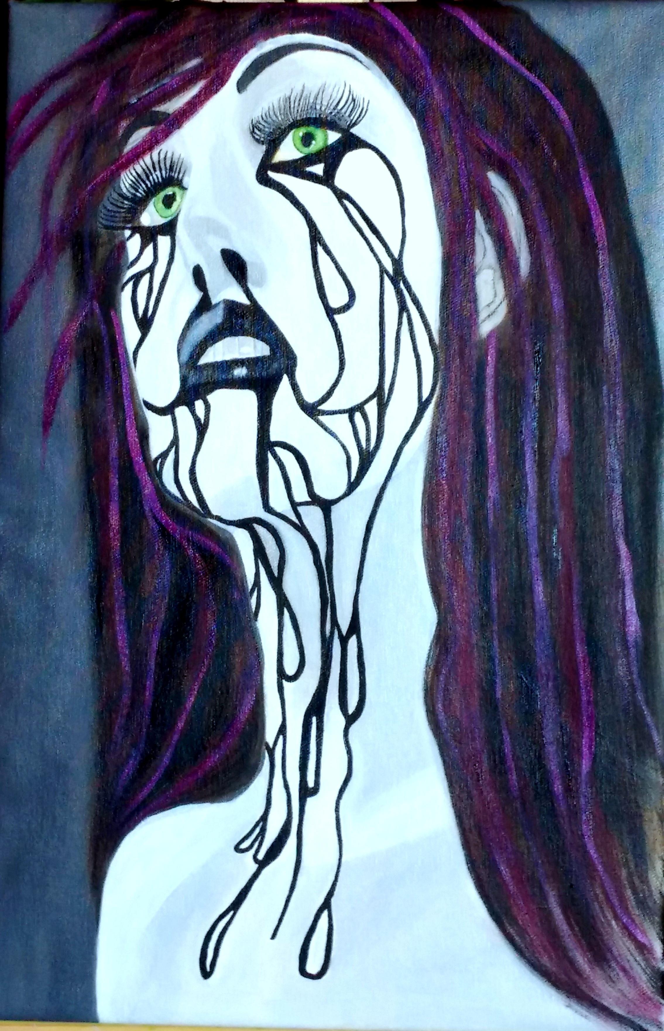 Gambar Wanita Ungu Jendela Warna Halloween Bahan Gotik