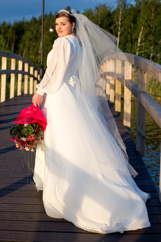 f54cf0cad55b kvinna vit bro blomma blå Kläder bröllop bröllopsklänning brud brudgum  äktenskap ceremoni klänning klänning slöja ett