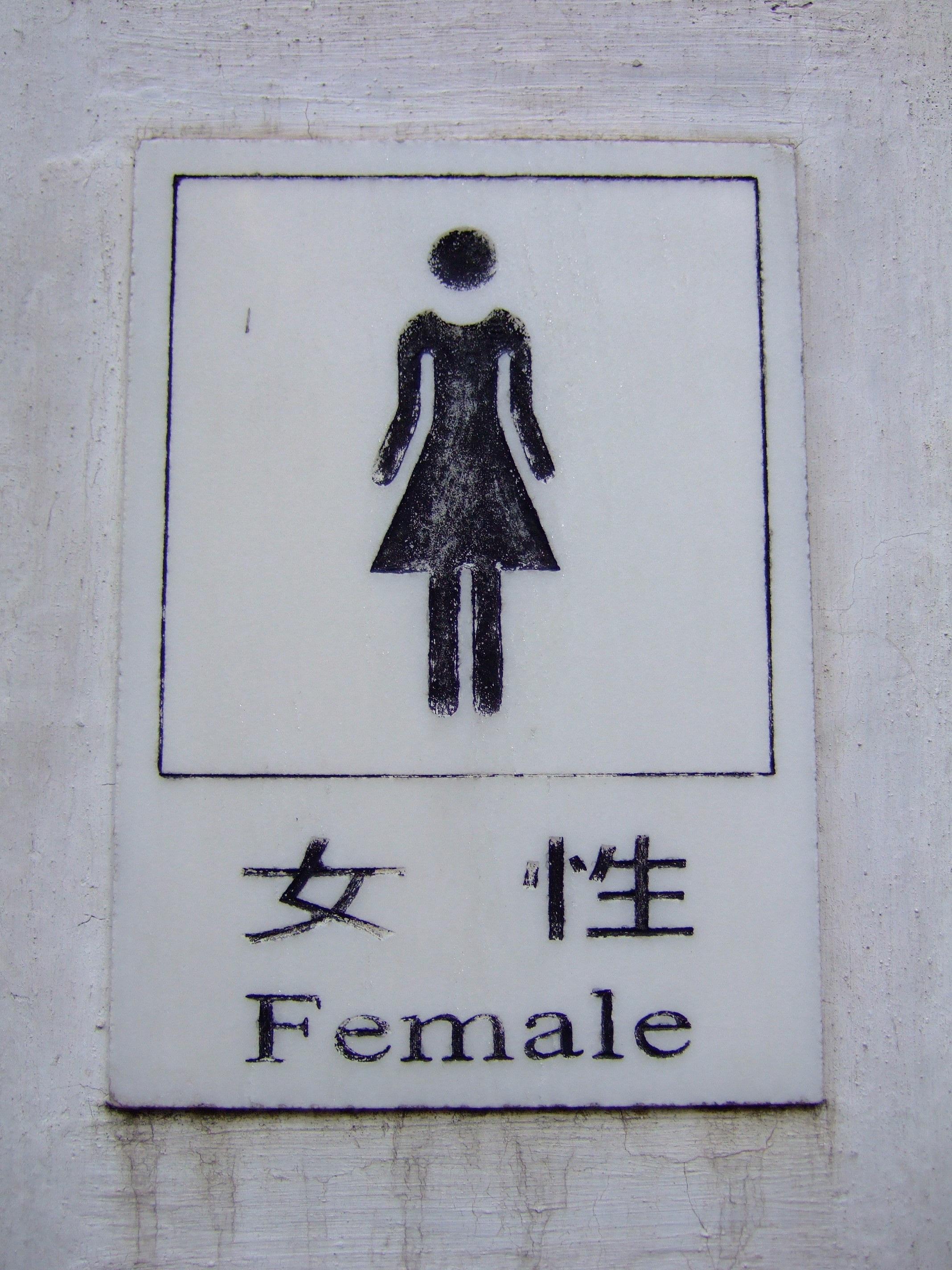 무료 이미지 : 여자, 화이트, 벽, 기호, 중국말, 상징, 화장실 ...