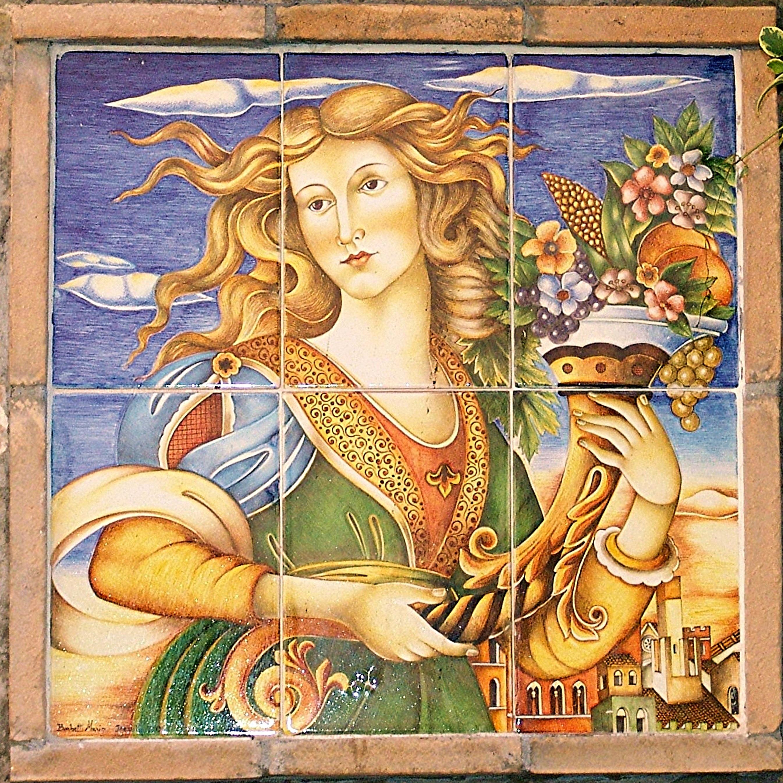 Fotoğraf Kadın Pencere Seramik Italya Fayans Boyama