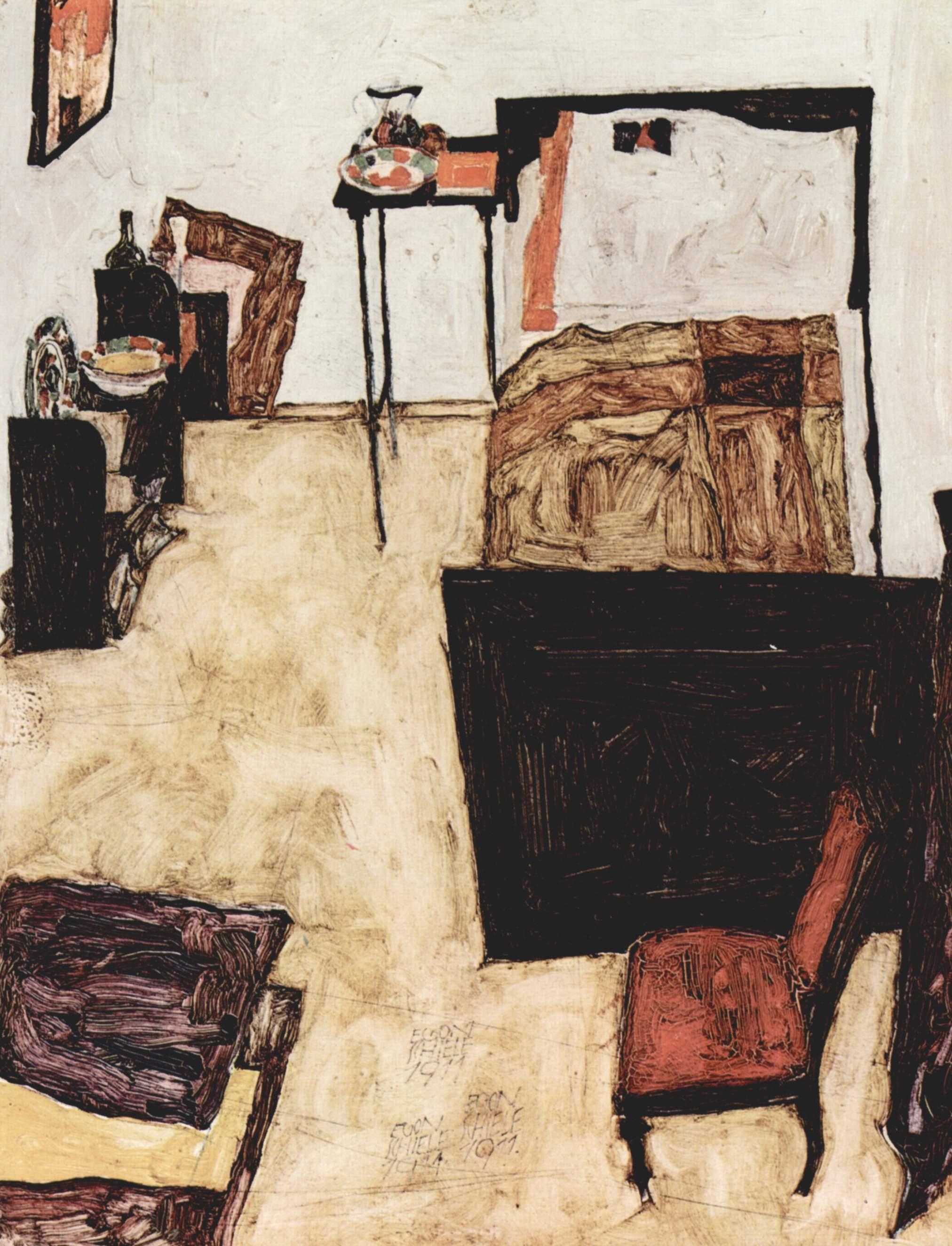Holz Schlafzimmer Stillleben Kunstwerk Malerei Österreich Kunst  Publicdomain Expressionismus Skizzieren Zeichnung Egonschiele Illustration  Jugendstil ...