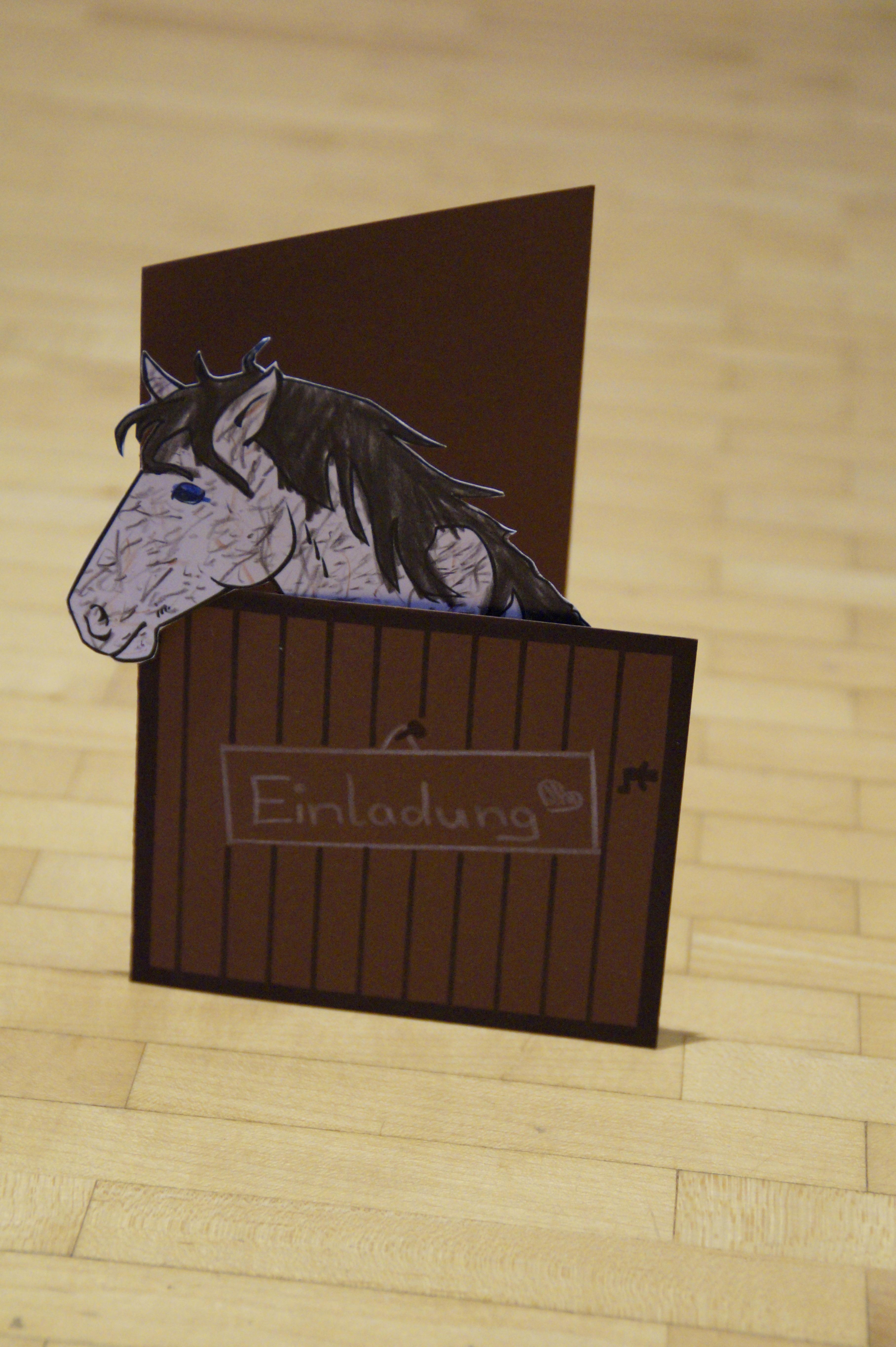 Holz Feier Pferd Hausgemacht Karte Feiern Kunst Festival Bilderrahmen  Carving Geburtstag Gebastelt Kindergeburtstag Einladung Selbstgemacht  Pferdestall