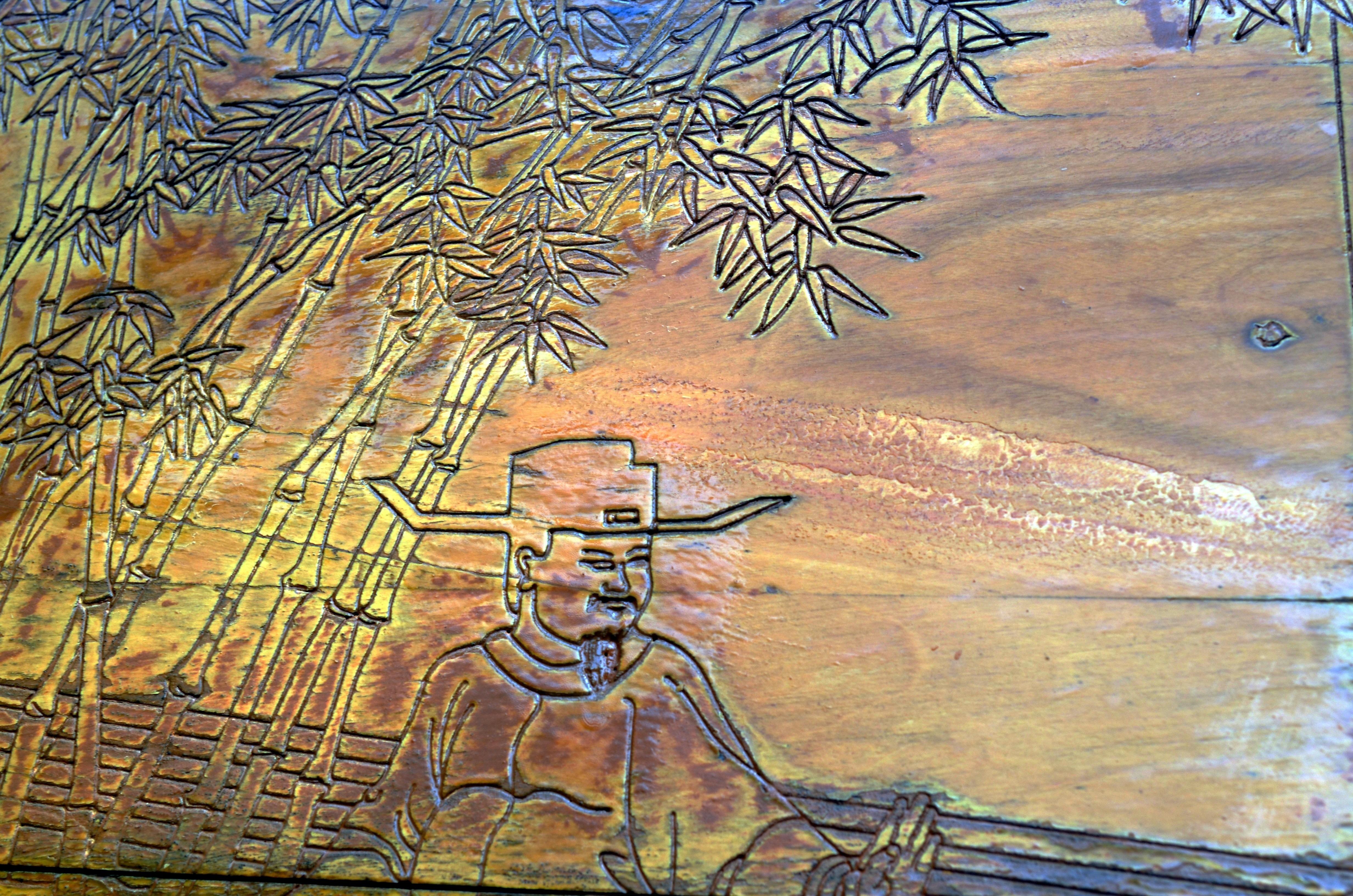 Gambar Kayu Cina Lukisan Sketsa Gambar Berukir