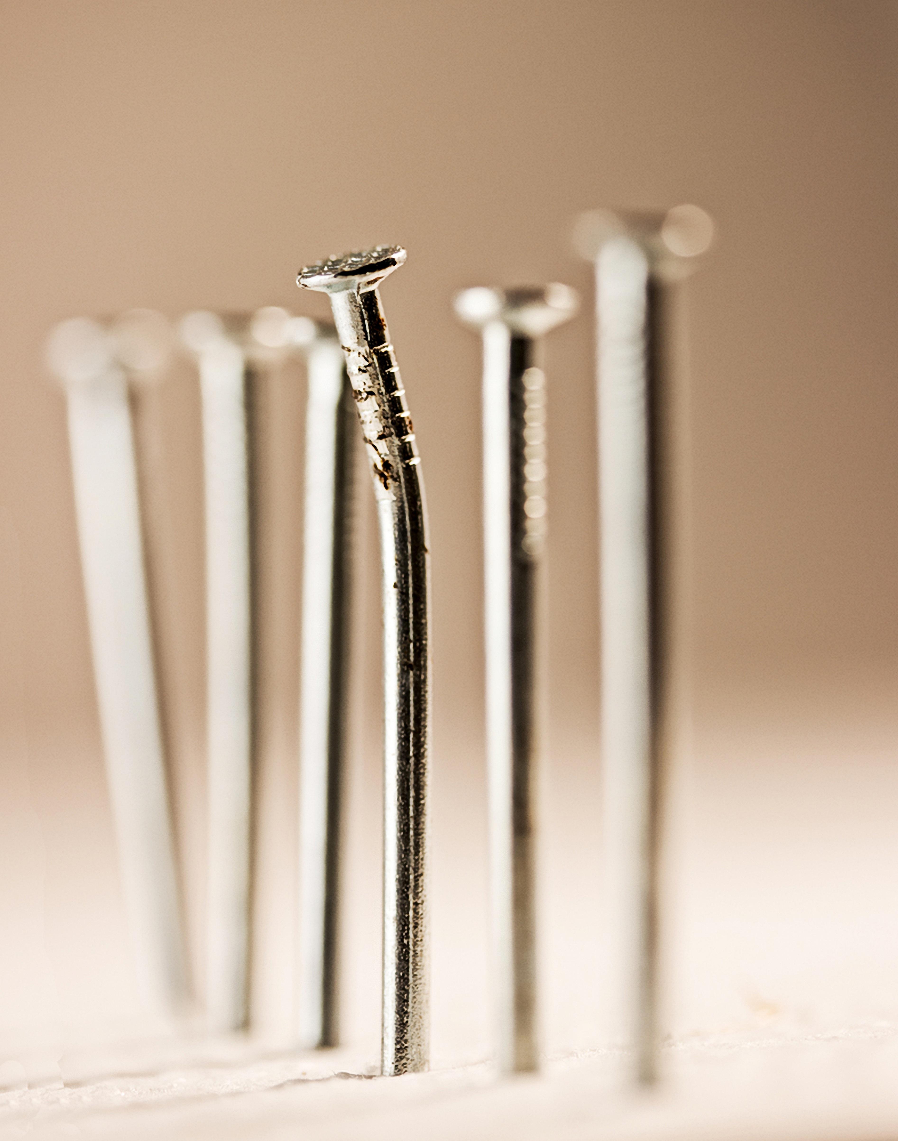 Free Images : wood, column, lighting, nails, nail head, metallstifte ...