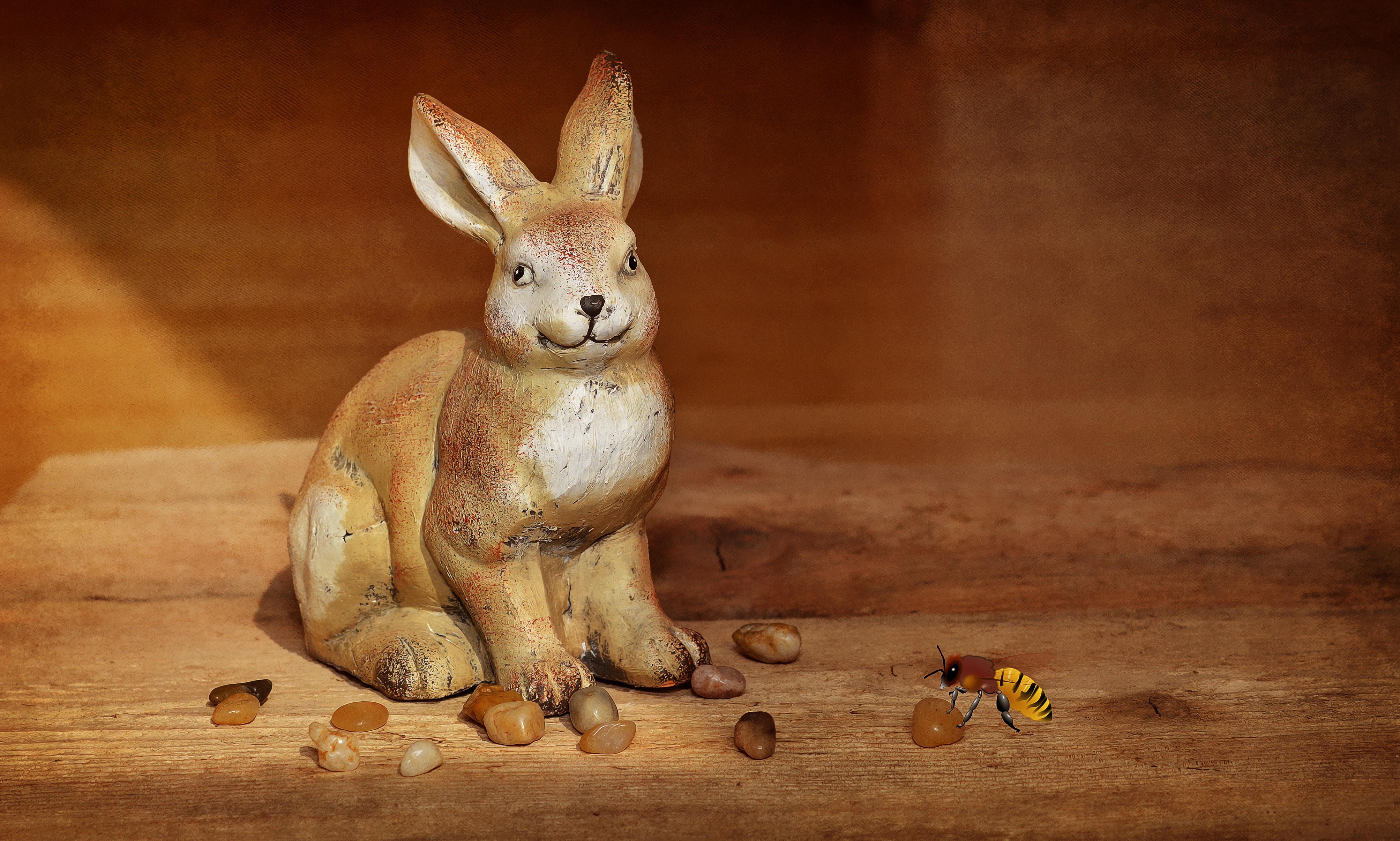 Fotoğraf Ahşap Geyik Dekorasyon Memeli Fauna Tavşan Boyama