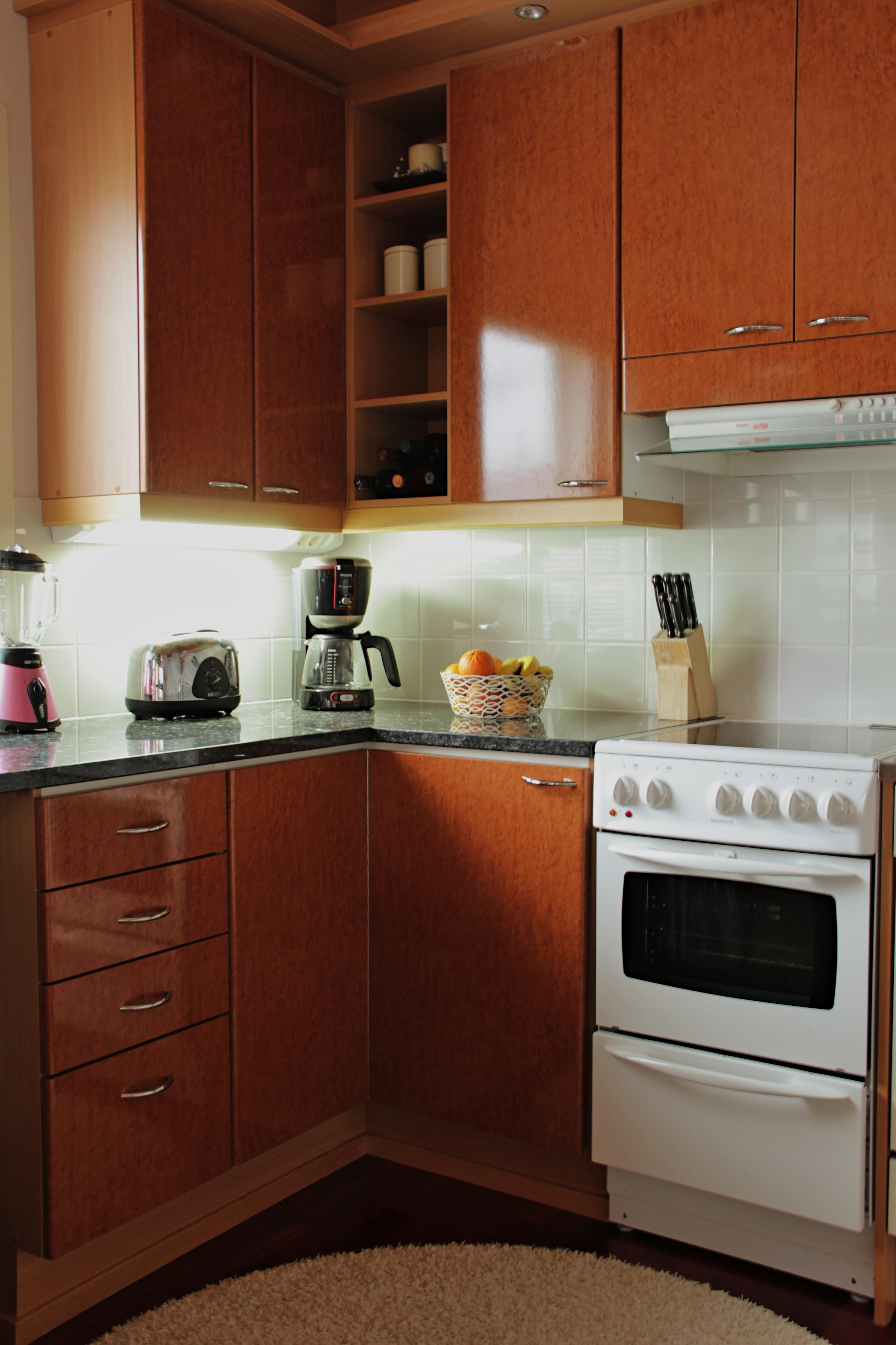 Kayu Lantai Rumah Makanan Pondok Dapur R Apartemen Masakan Alat Masak Meja Kompor Desain Interior Sudut