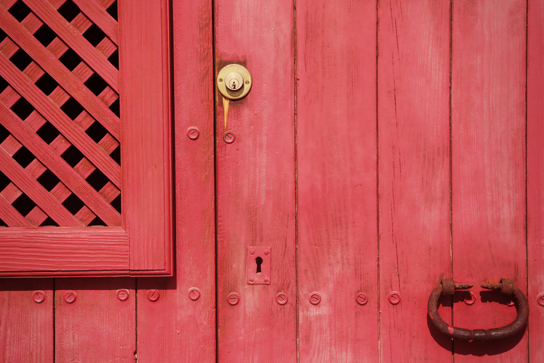 Wood Floor Wall Rustic Red Entrance Color Exterior Furniture Pink Gate Door Doorway Handle Interior Design
