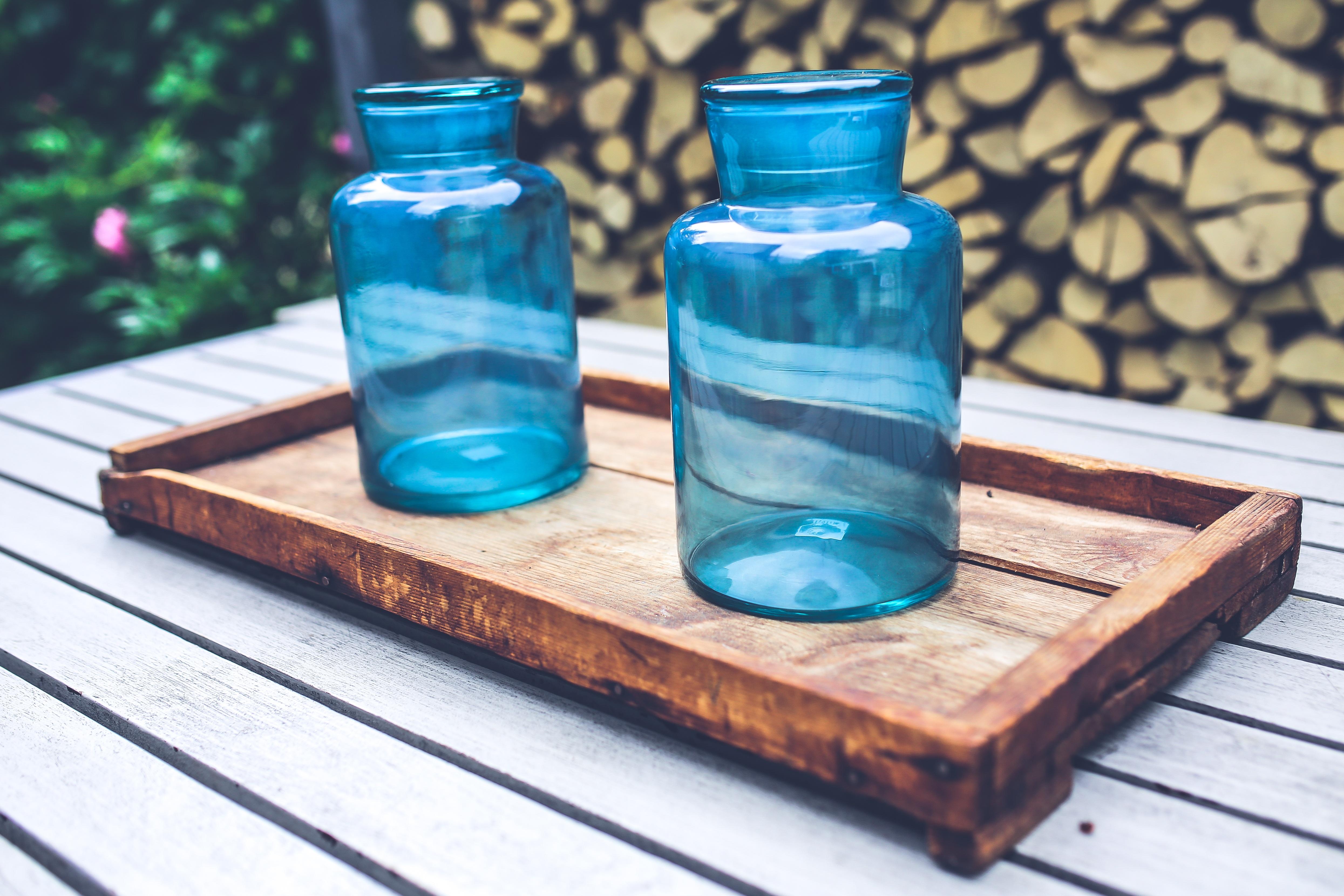 Gambar Kayu Biru Barang Pecah Belah Baki Botol Kaca Mason