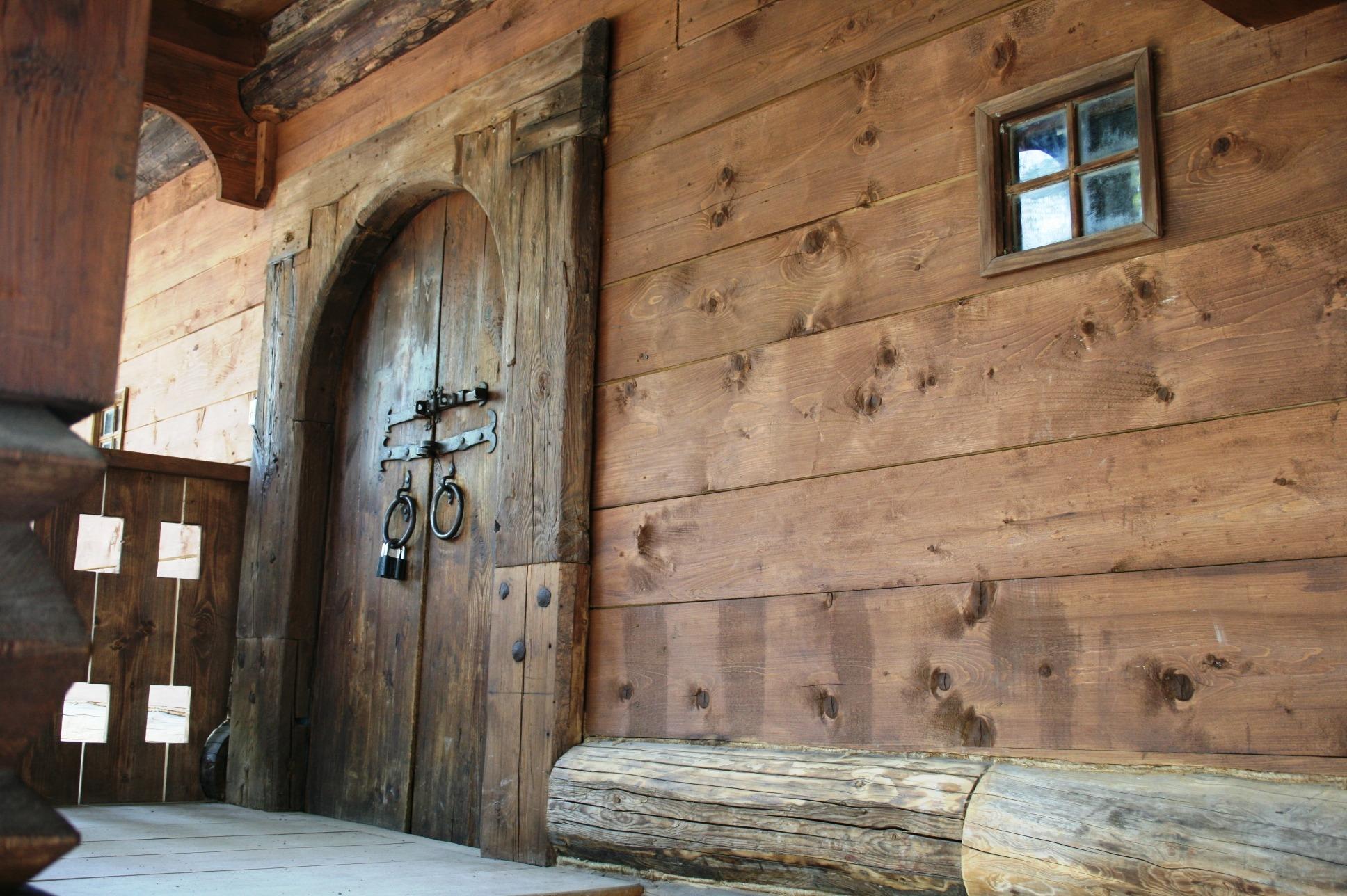 Wood House Building Wall Entrance Interior Design Wooden Door Logs Estate Log  Cabin Glass Window Man