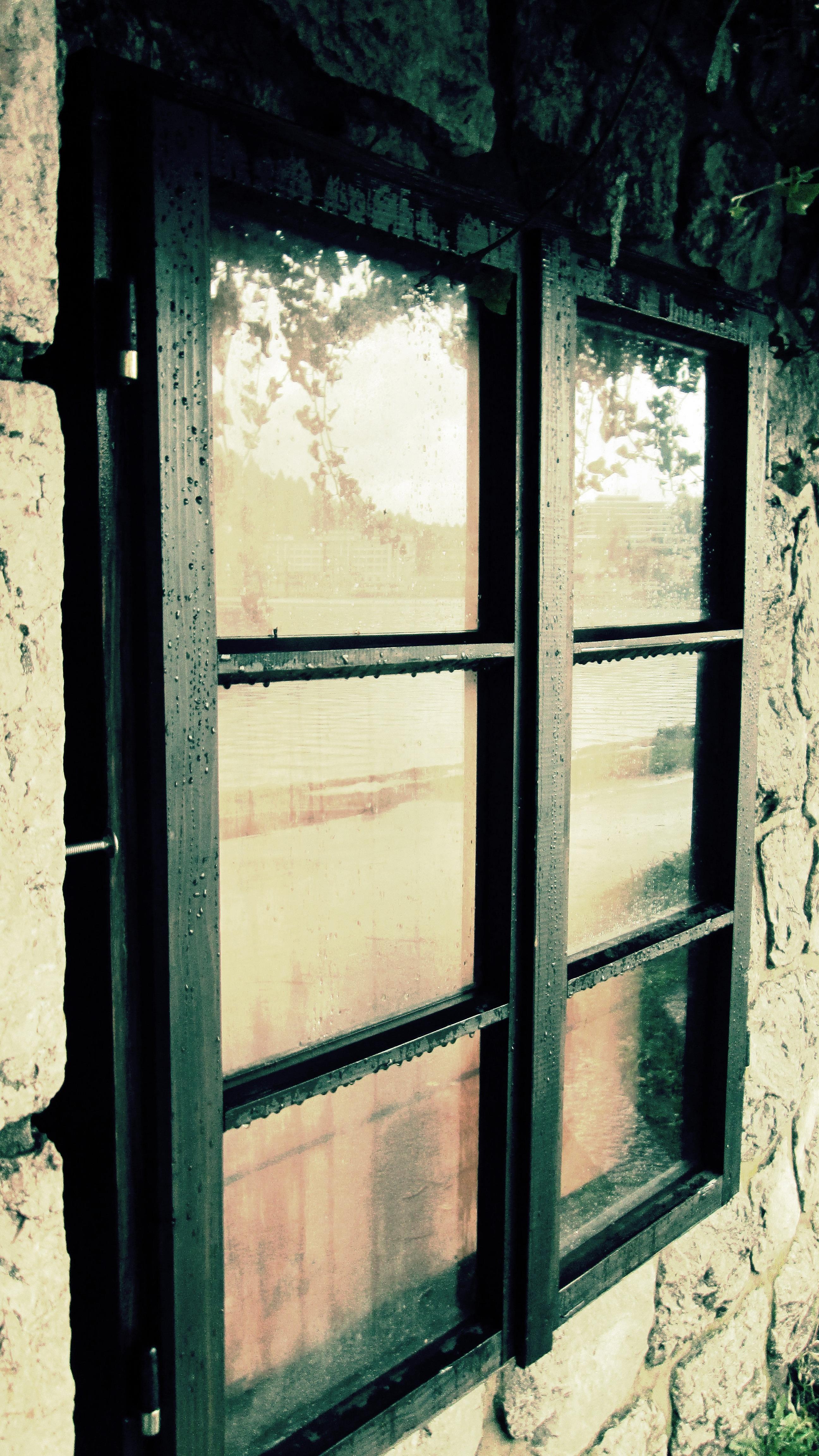 Wood House Rain Window Glass Raindrop Wet Wall Green Reflection Color  Grunge Furniture Door Interior Design