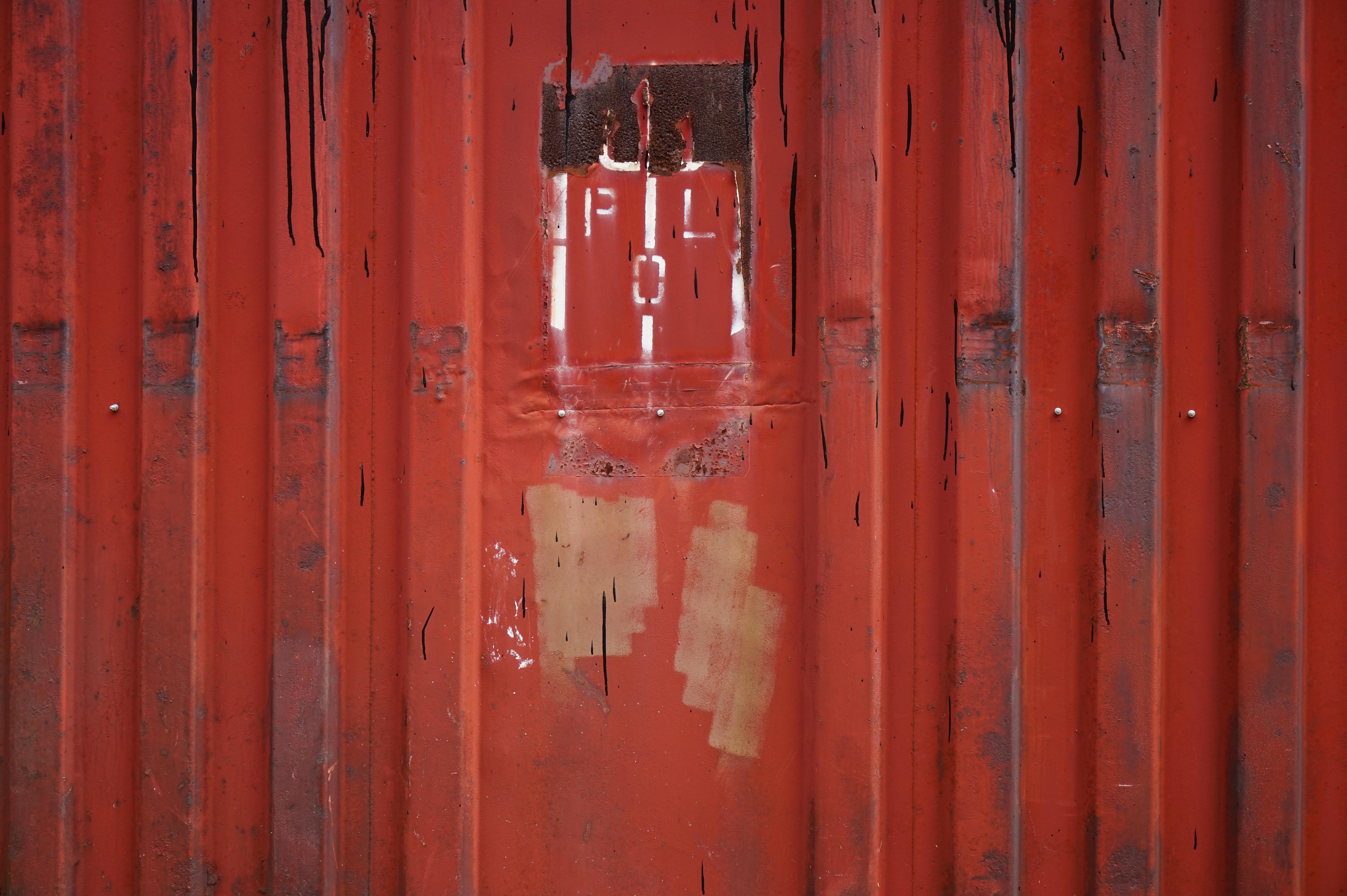 Wood House Texture Window Wall Red Color Metal Plate Door Interior Design