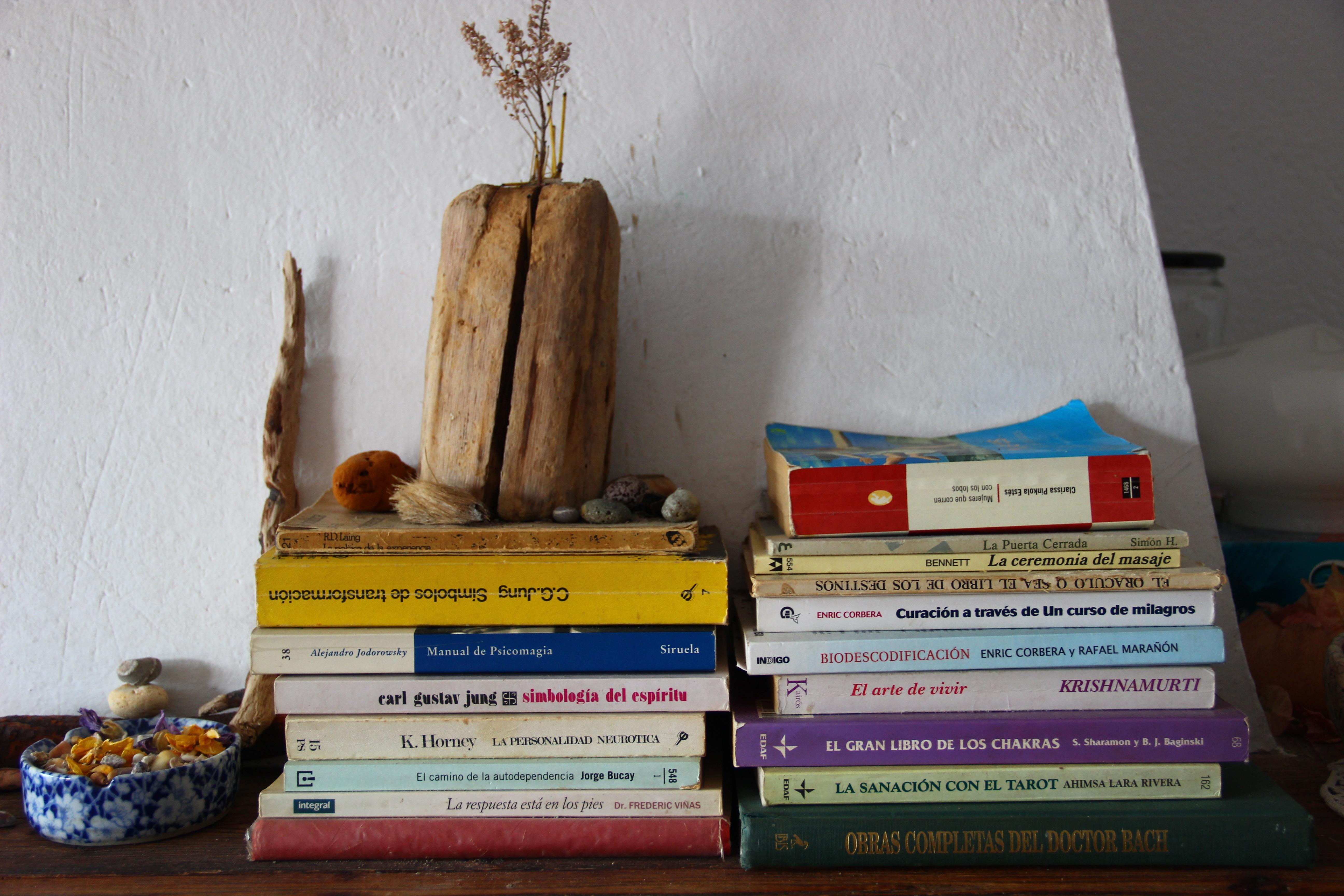 Wood Interior Home Color Bookshelf Book Shelf Meditation Books Psychology  Well Being Stack Of Books Mantelpiece