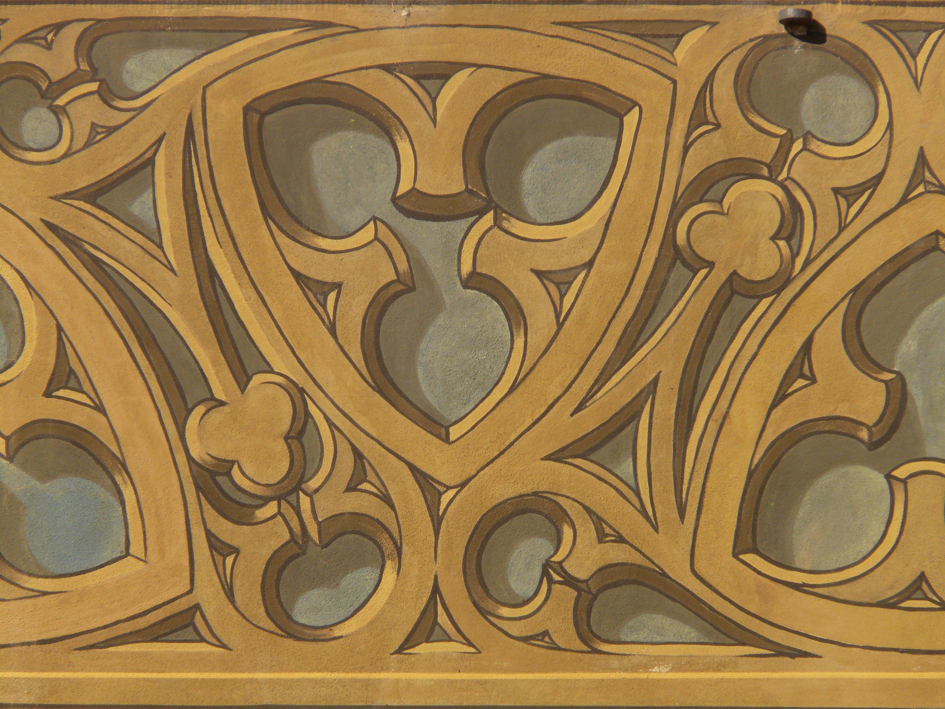 Gambar Kayu Pola Simbol Lingkaran Lukisan Ornamen