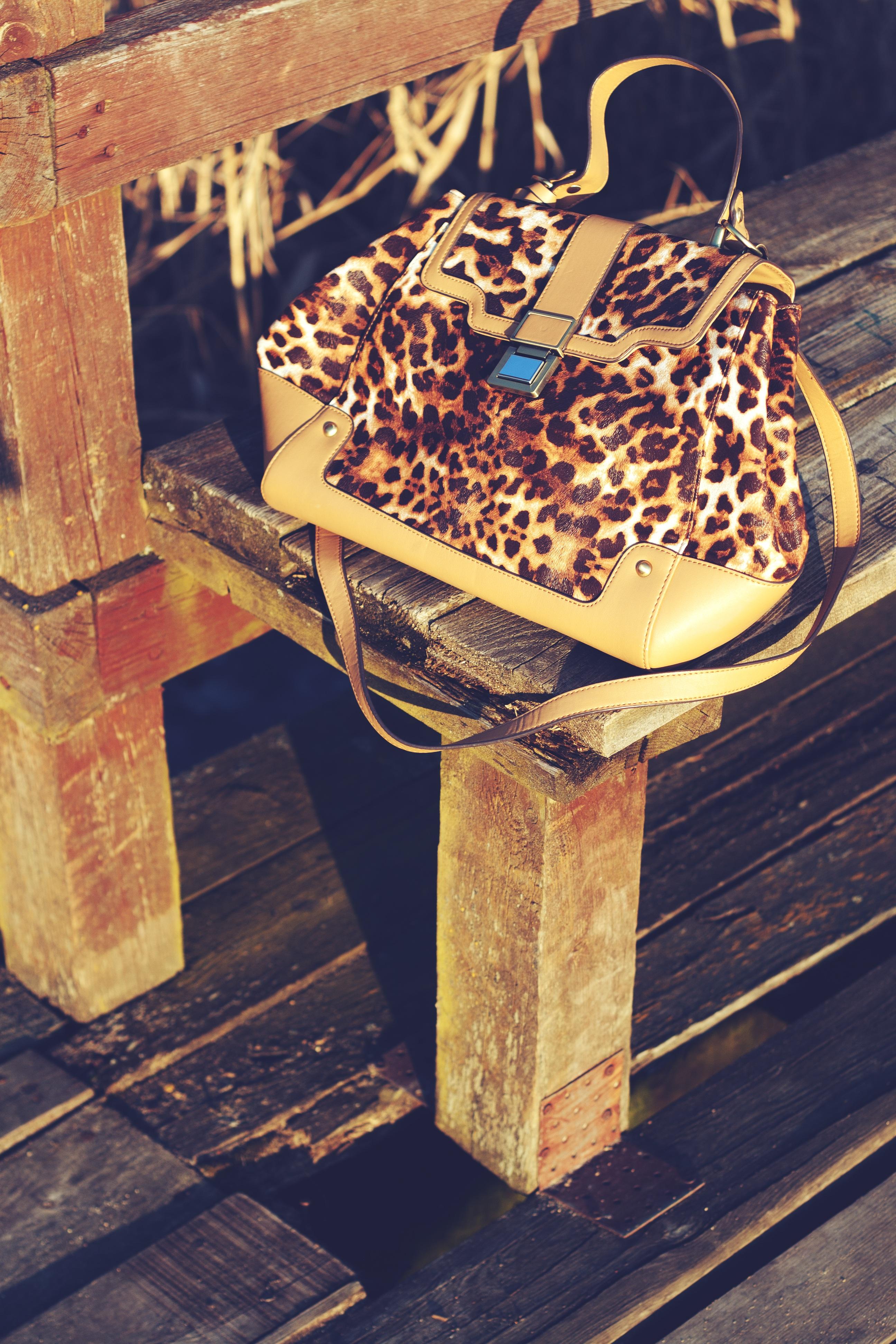 Wood Print Color Bag Furniture Leopard Art Design Beige Carving Shape