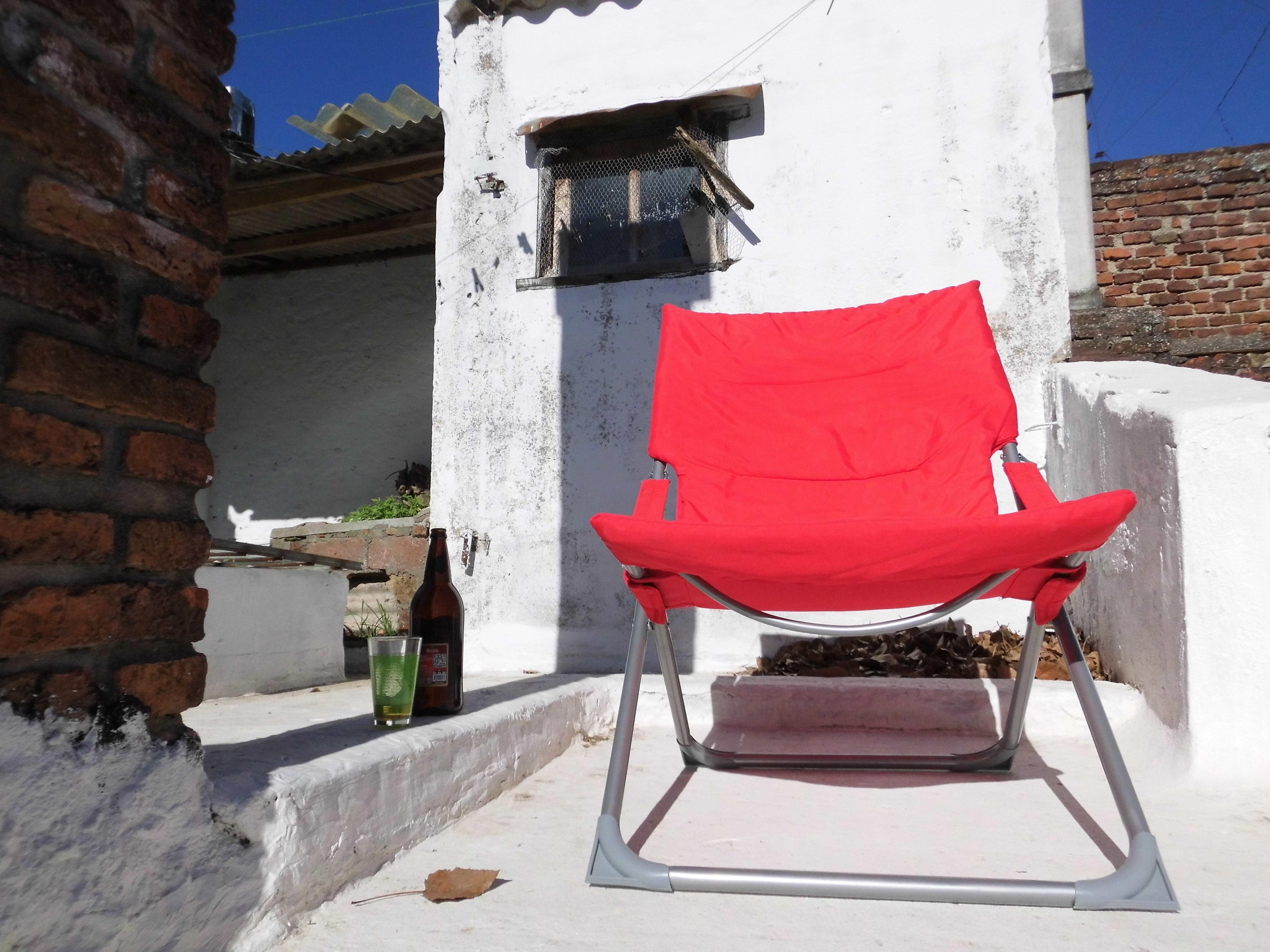 Großartig Holz Sonne Sessel Rot Entspannen Sie Sich Hütte Sitzung Möbel Dachgarten