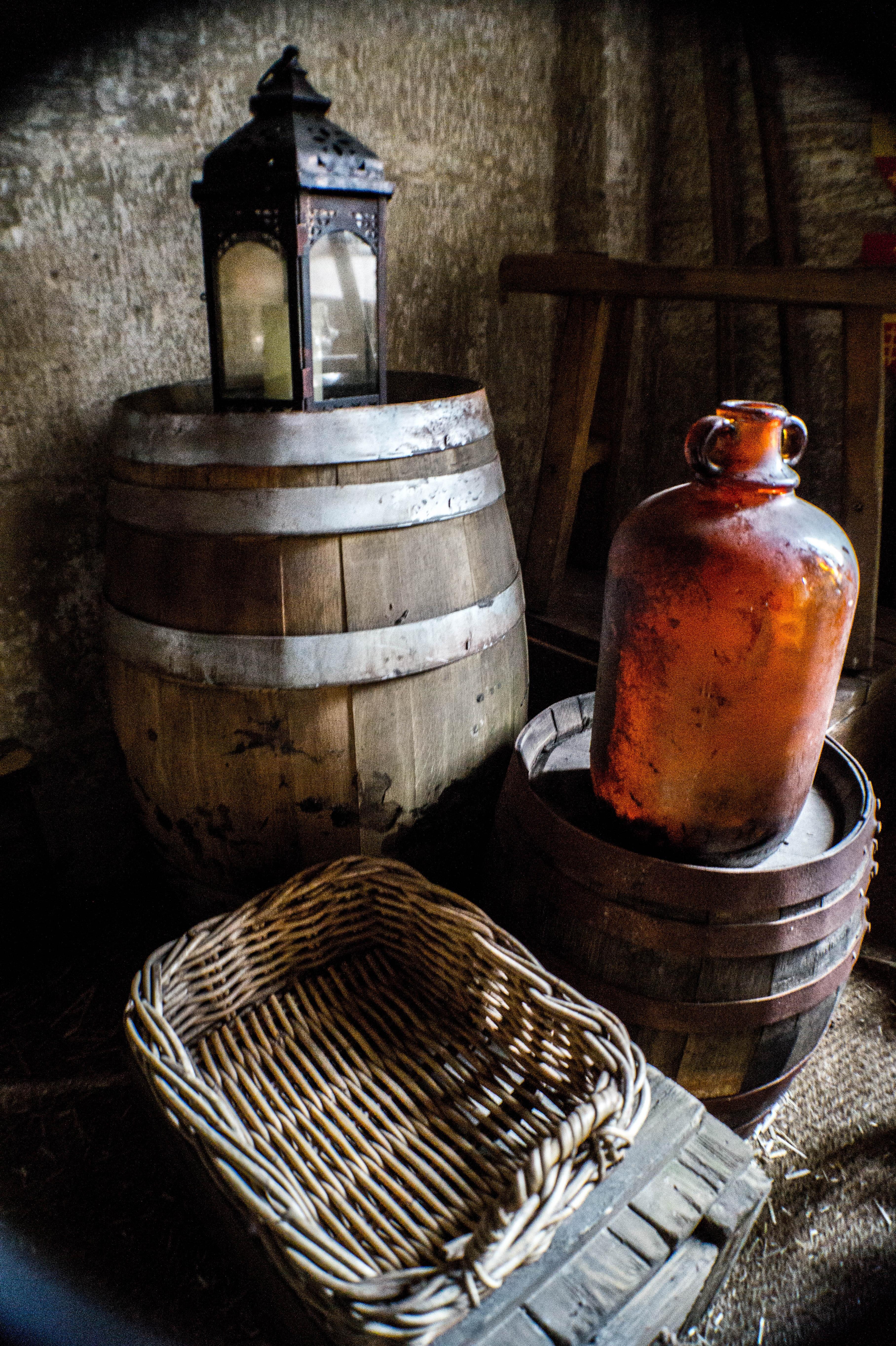 Wood Vintage Old Rustic Lantern Drink Bottle Basket Lighting Still Life Barrel Painting Wicker Glass