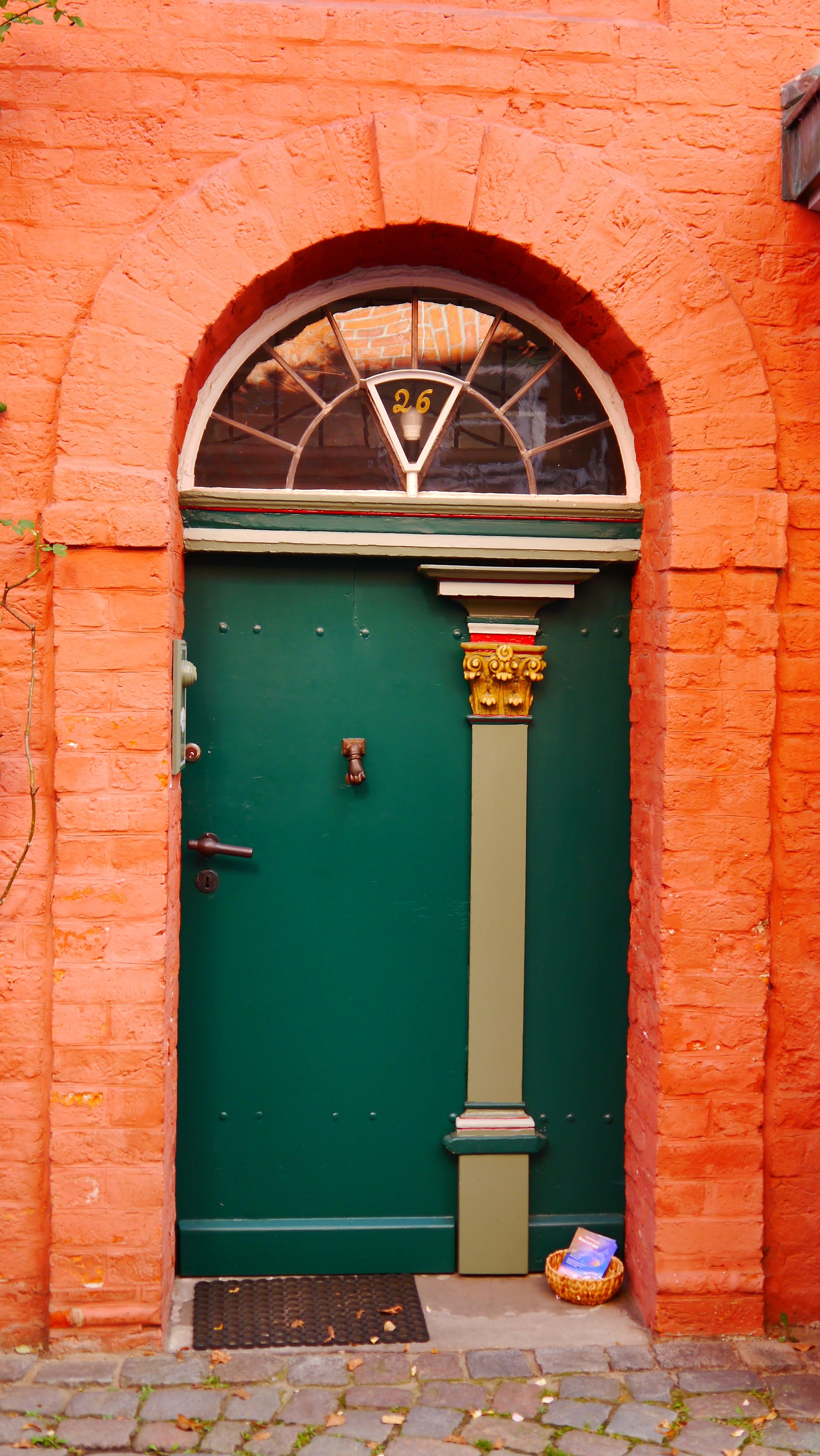 Wood Window Old Wall Arch Green Red Color Facade Nostalgia Brick Door Front  Door Input House