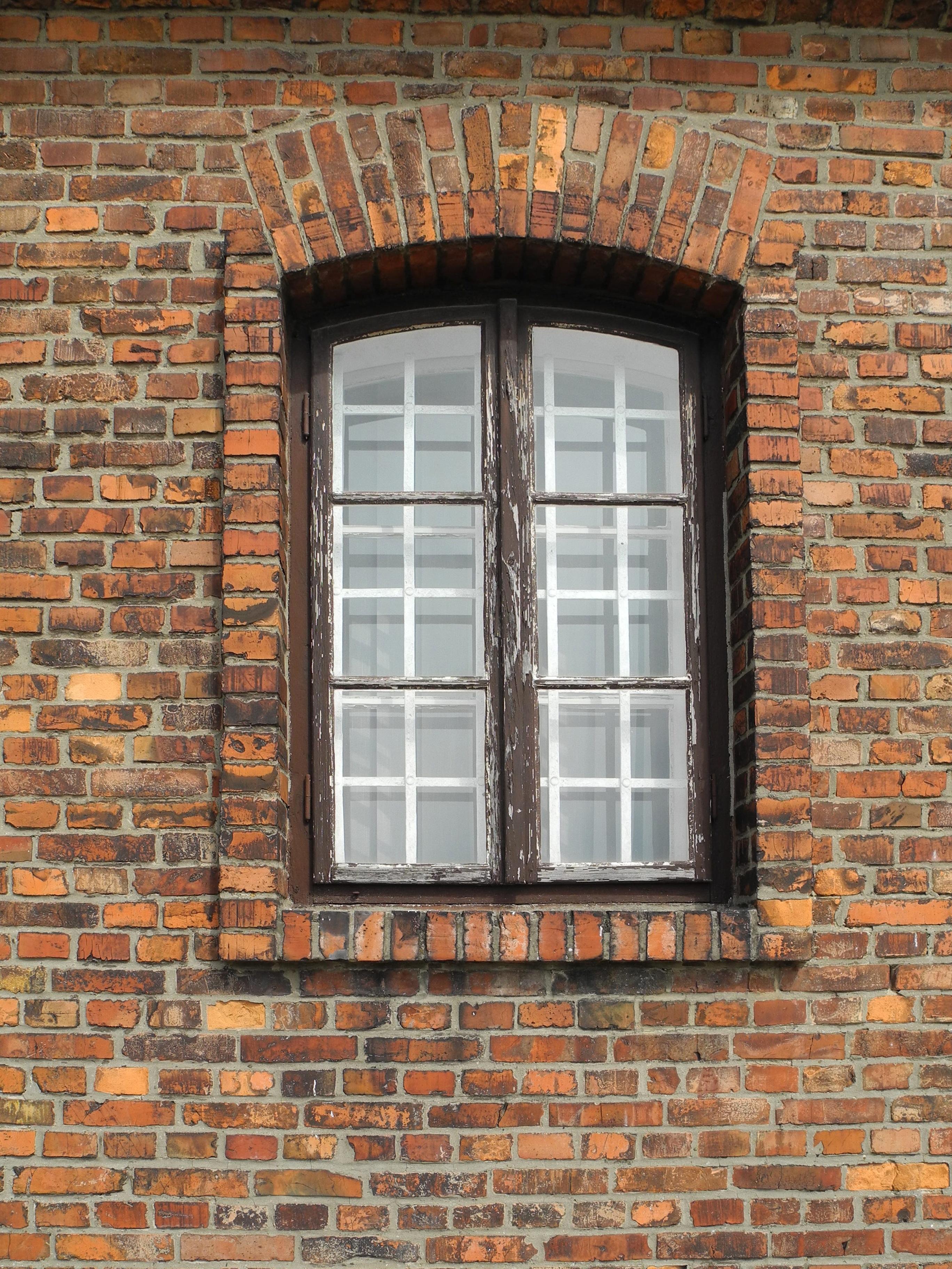 Wood Window Old Wall Facade Brick Material Interior Design Brickwork Dachau  Krakow Concentration Camp Sash Window