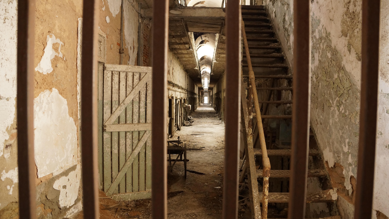 wood window old wall rust historic ruin door bars temple stairs derelict prison history jail penitentiary & Free Images : wood window old wall rust historic ruin door ...