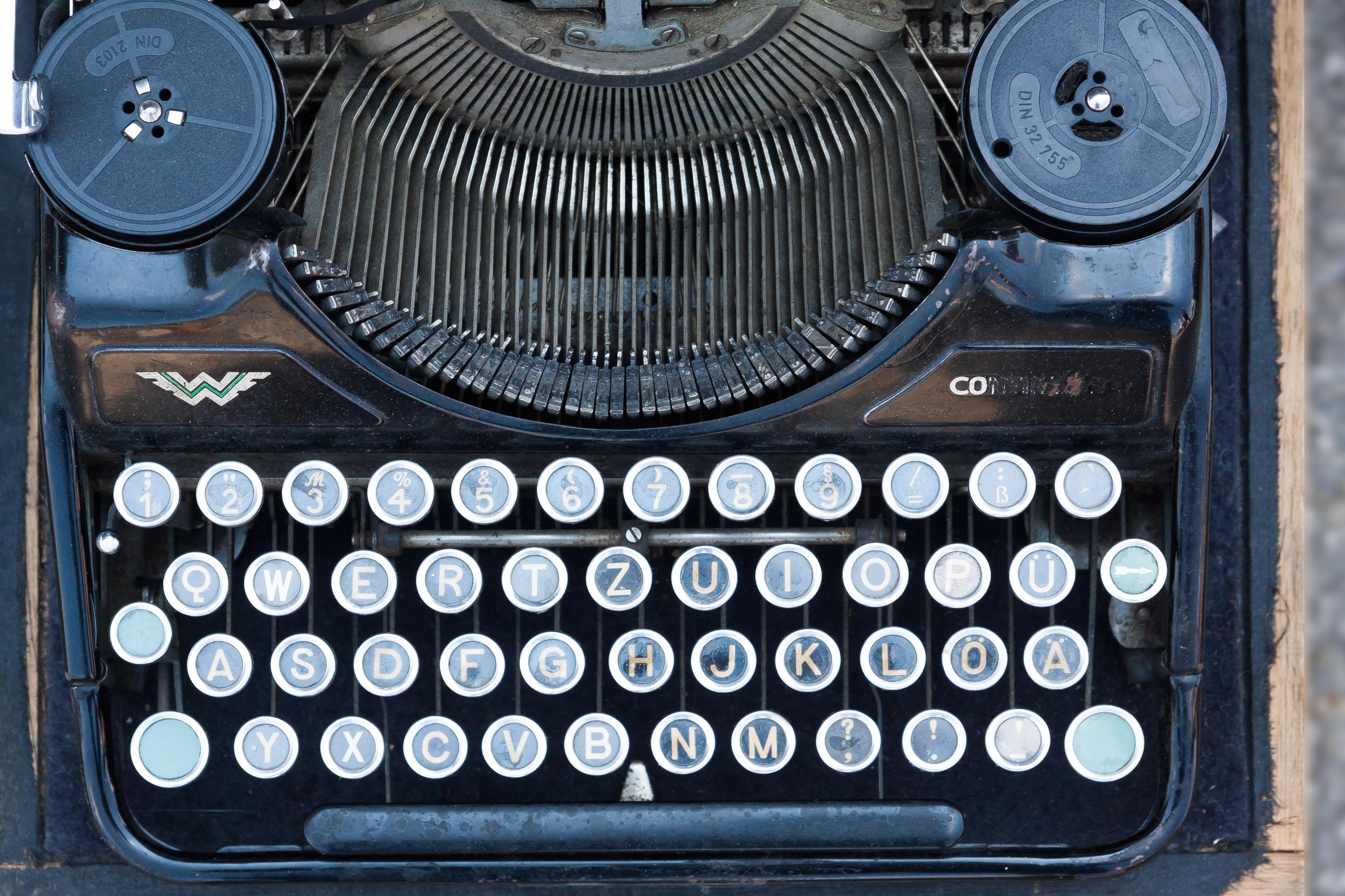 Gambar Kata Keyboard Antik Retro Tua Mesin Tik Alfabet