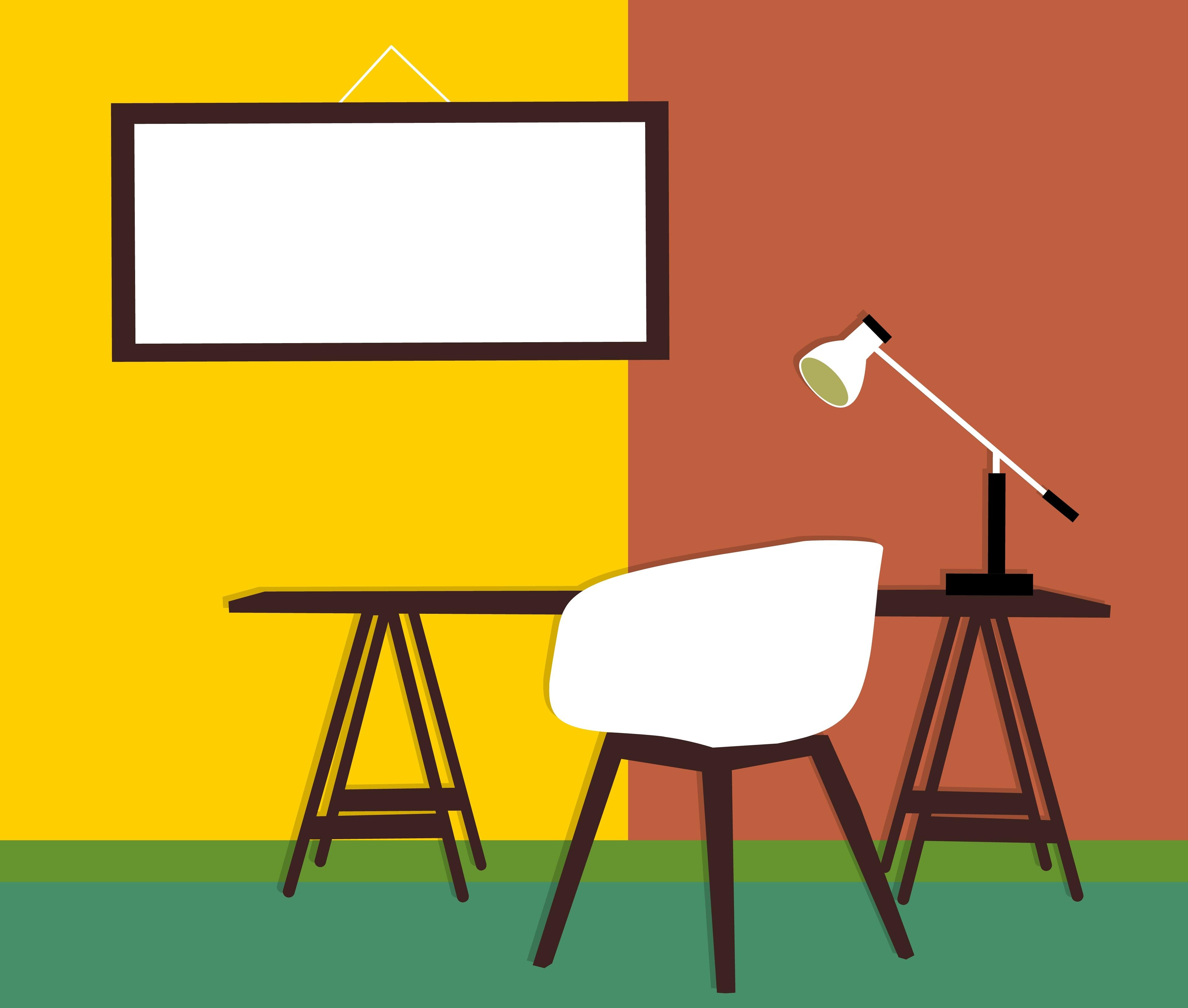 Hervorragend Arbeitsplatz Zimmer Entwurf Arts Architecture Zeitgenössisch Mauer Bild Die  Architektur Kunst Die Glühbirne Beige Gelb Tabelle