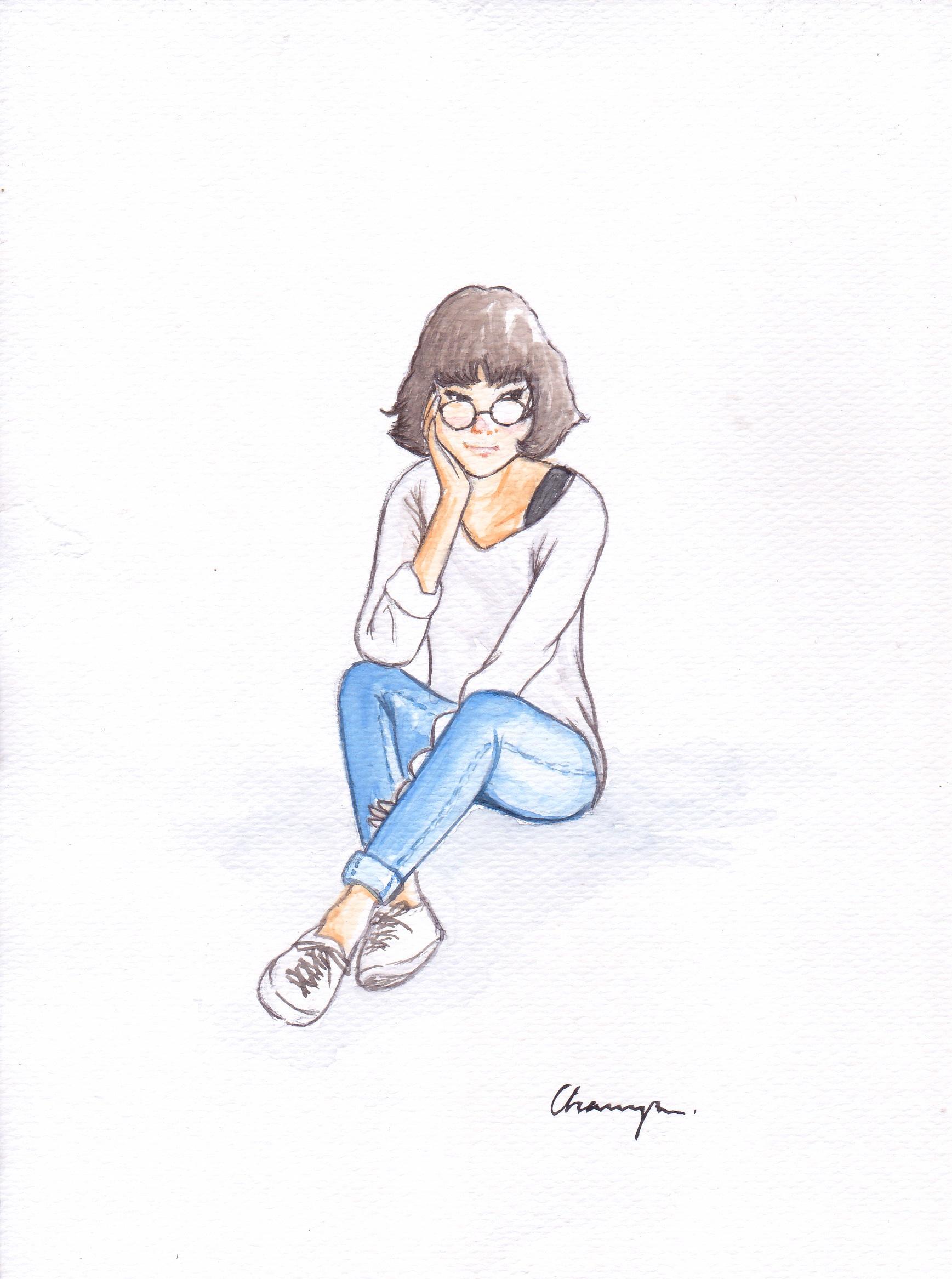 Download Gambar Sketsa Kartun Orang Nari Wanita