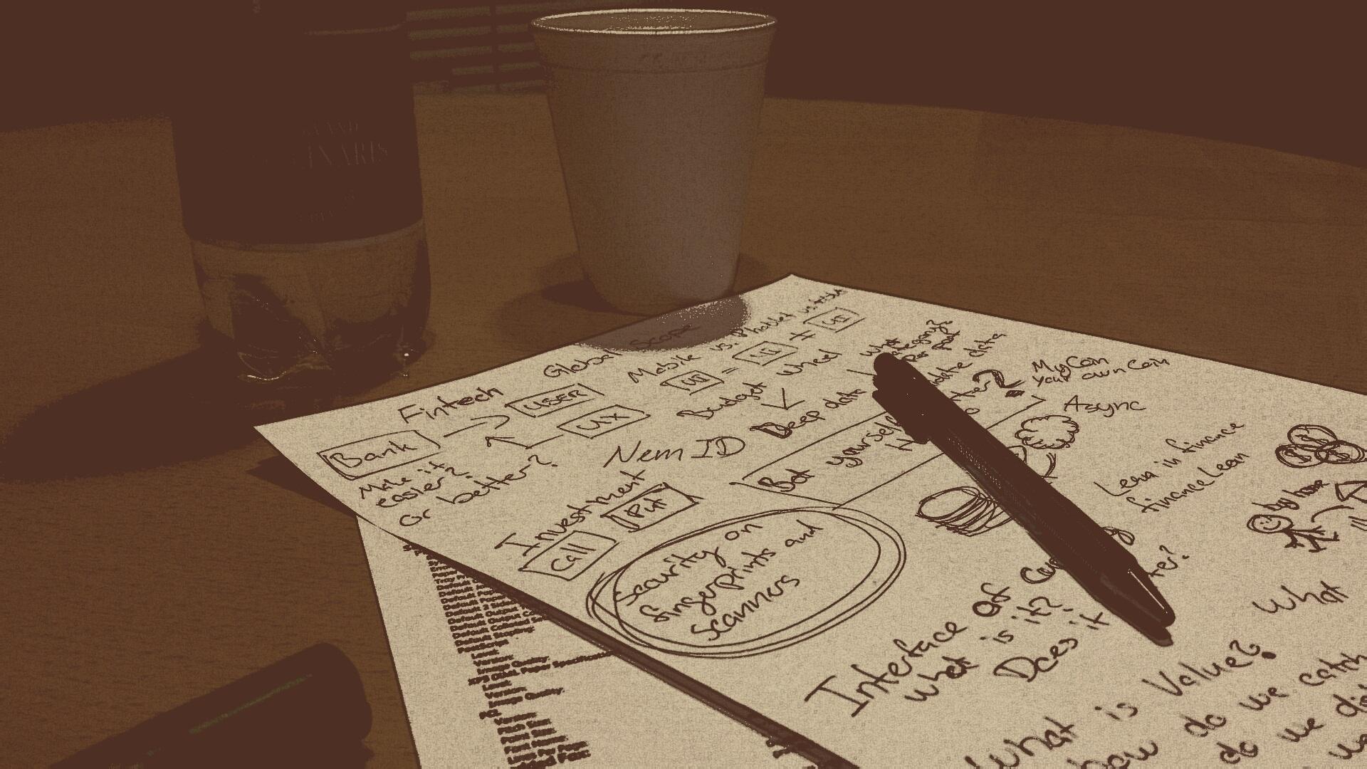 Gambar Penulisan Meja Kayu Pena Cangkir Pola Botol